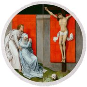 The Crucifixion With The Virgin And Saint John The Evangelist Mourning Round Beach Towel