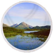 The Cuillin Hills Of Skye In The Western Isles Round Beach Towel