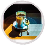 The Cup Of Black Coffee 1 Round Beach Towel