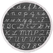 The Cursive Alphabet Round Beach Towel