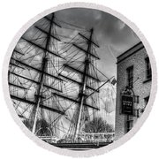 The Cutty Sark And Gipsy Moth Pub Greenwich Round Beach Towel