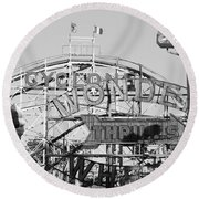 The Cyclone In Black And White Round Beach Towel