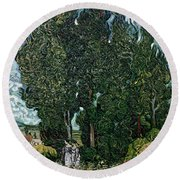 The Cypresses Round Beach Towel