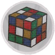 The Dammed Cube Round Beach Towel