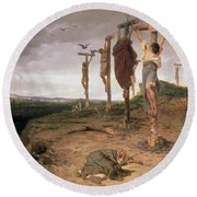 The Damned Field Execution Place In The Roman Empire Round Beach Towel