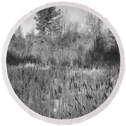 The Dance Of The Cattails Bw Round Beach Towel