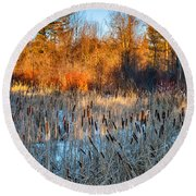 The Dance Of The Cattails Round Beach Towel