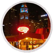 The Daniels And  Fisher Tower At Night Round Beach Towel