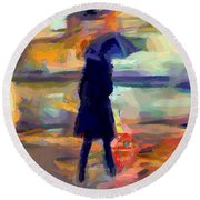 The Day For An Umbrella Round Beach Towel