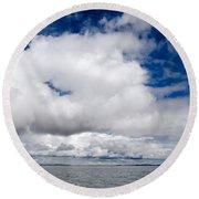 Cloudscape Over Lake Titicaca Peru Round Beach Towel