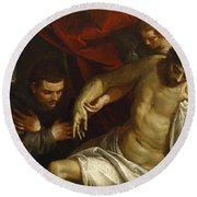 The Dead Christ Supported By An Angel And Adored By A Franciscan Round Beach Towel