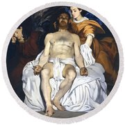 The Dead Christ With Angels Round Beach Towel