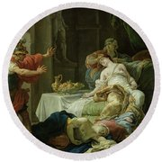The Death Of Cleopatra, 1755 Oil On Canvas Round Beach Towel