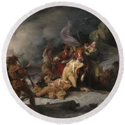 The Death Of General Montgomery In The Attack On Quebec, December 31, 1775, 1786 Oil On Canvas Round Beach Towel