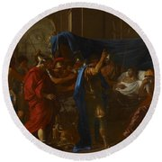 The Death Of Germanicus Round Beach Towel by Nicolas Poussin