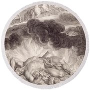 The Death Of Hercules Round Beach Towel