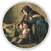 The Death Of The Pauper Oil On Canvas Round Beach Towel