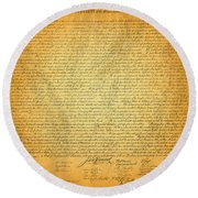 The Declaration Of Independence - America's Founding Document Round Beach Towel