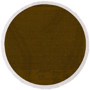 The Declaration Of Independence In Brown Round Beach Towel