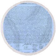 The Declaration Of Independence In Cyan Round Beach Towel
