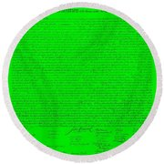 The Declaration Of Independence In Green Round Beach Towel
