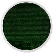 The Declaration Of Independence In Negative Green Round Beach Towel by Rob Hans