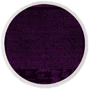 The Declaration Of Independence In Negative Purple Round Beach Towel