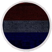 The Declaration Of Independence In Negative R W B 1 Round Beach Towel