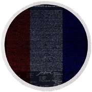 The Declaration Of Independence In Negative R W B Round Beach Towel by Rob Hans