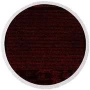 The Declaration Of Independence In Negative Red Round Beach Towel