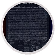 The Declaration Of Independence In Negative Red White And Blue Round Beach Towel