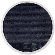 The Declaration Of Independence In Negative  Round Beach Towel