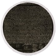 The Declaration Of Independence In Negative Sepia Round Beach Towel by Rob Hans