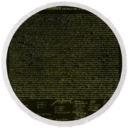 The Declaration Of Independence In Negative Yellow Round Beach Towel
