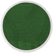 The Declaration Of Independence In Olive Round Beach Towel