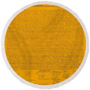 The Declaration Of Independence In Orange Round Beach Towel