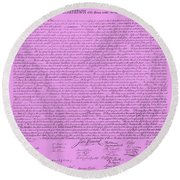 The Declaration Of Independence In Pink Round Beach Towel