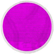The Declaration Of Independence In Purple Round Beach Towel by Rob Hans