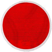 The Declaration Of Independence In Red Round Beach Towel by Rob Hans