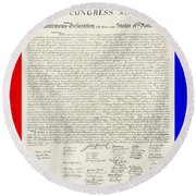 The Declaration Of Independence In Red White And Blue Round Beach Towel by Rob Hans