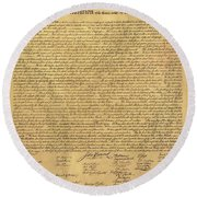 The Declaration Of Independence In Sepia Round Beach Towel