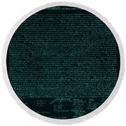 The Declaration Of Independence In Turquoise Round Beach Towel