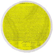 The Declaration Of Independence In Yellow Round Beach Towel