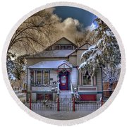 The Decorated Little House In The Snow Round Beach Towel