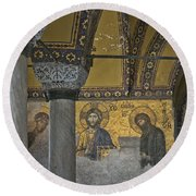 The Deesis Mosaic At Hagia Sophia Round Beach Towel