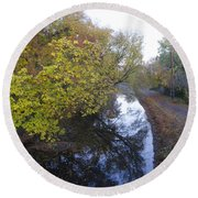 The Delaware Canal In Morrisville Pa Round Beach Towel
