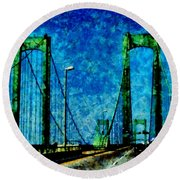 The Delaware Memorial Bridge Round Beach Towel