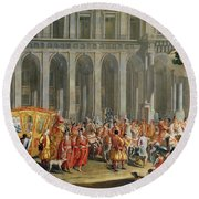 The Departure Of Alois Thomas Von Harrach, Viceroy Of Naples 1669-1742 From The Palazzo Reale Di Round Beach Towel
