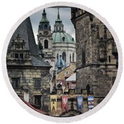 The Depths Of Prague Round Beach Towel by Joan Carroll