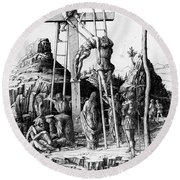 The Descent From The Cross Round Beach Towel by Andrea Mantegna